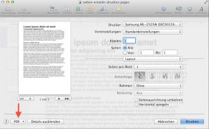 Wie man in Pages einzelne Seiten längerer Textdokumente druckt