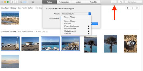 Wie man BIlder in der Apple Fotos App einem Album hinzufügt