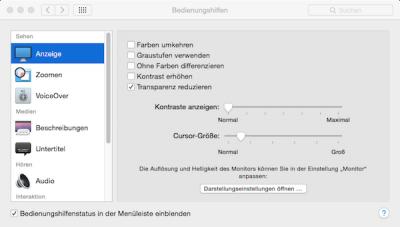 Die Bedienungshilfen für Behinderte unter Mac OS X
