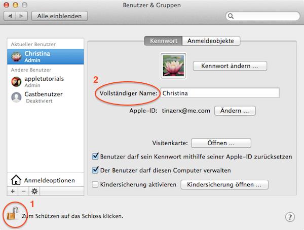 Benutzername unter Mac OS X ändern