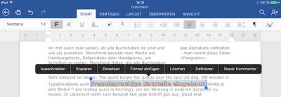 Textefekte in Office Word für iPad hinzufügen