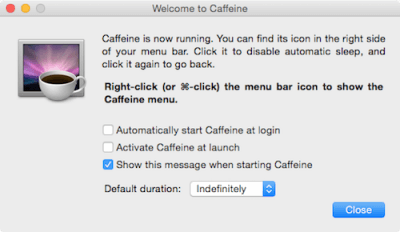 Mac am Ruhezustand hindern mit Caffeine Software