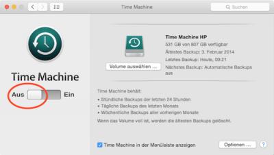 Time Machine Backup ausschalten
