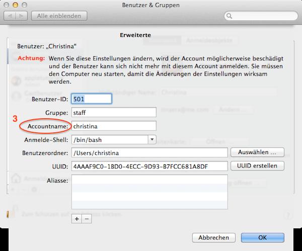 So ändern Sie den Accountnamen an Ihrem Mac