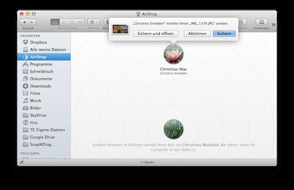Mit Airdrop Dokumente von anderem Mac empfangen