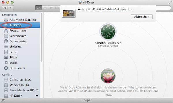 Mit Airdrop von Apple eine Datei versenden