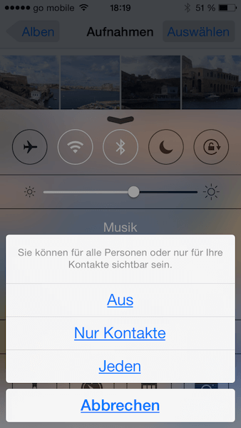 Airdrop bei iOS 7 im Kontrollzentrum aktivieren