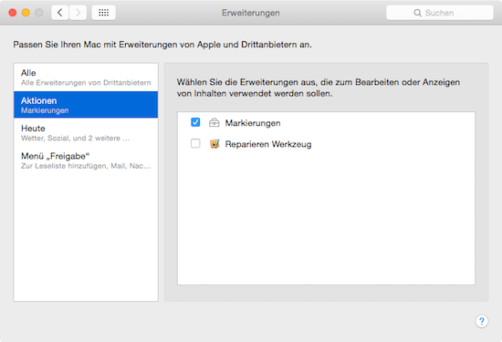 Aktionen  Erweiterungen unter Mac OS X