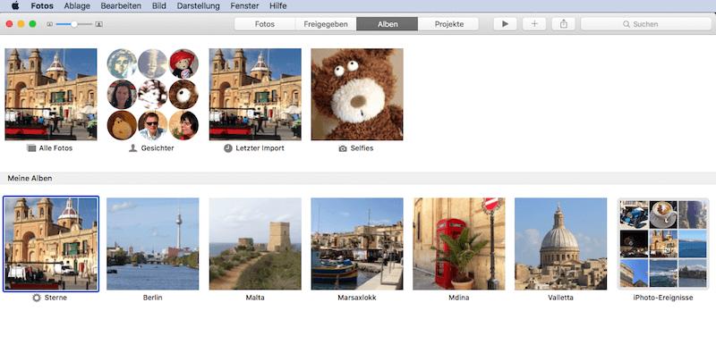 Wie Alben sortiert sind in Apples App Fotos für Mac OS X