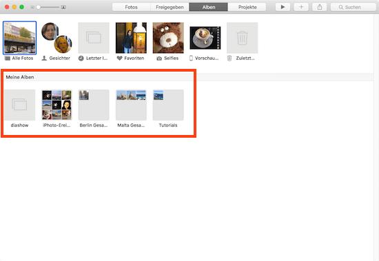 Bilder sortieren in Fotos App für Mac mit einem Album