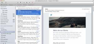 Fenster Ansicht im Mail Programm von Apple