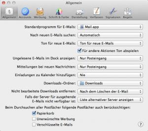 Einstellungen im Mailprogramm von Apple