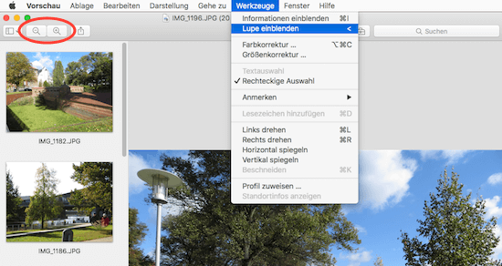 Darstellung mit Lupe zur Bildvergrößerung in der Vorschau App von Apple