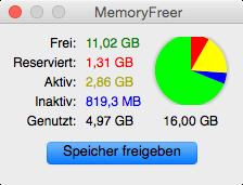 Mit MemoryFreer Speicher am Mac freigeben