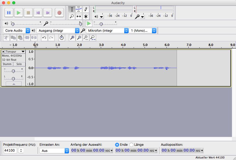 Audio-Aufnahmen mot kostenloser Software  am Mac erstellen