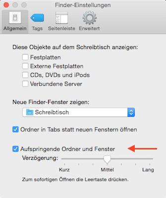 Aufspringende Ordner & Fenster am Mac konfigurieren oder deaktivieren