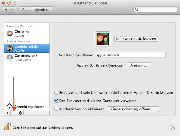Benutzer Account vom Mac entfernen