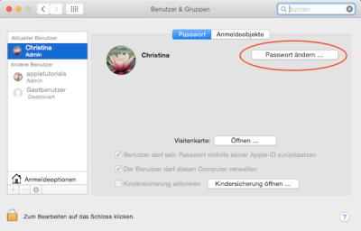 Passwort für Benutzeraccount am Mac ändern