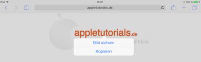 Bild in iPad Zwischenablage kopieren