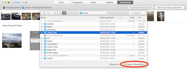 Bilder von Mac Festplatte in Foto App importieren