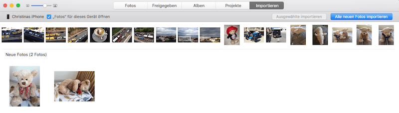 Bilder von iPhone oder Speicherkarte in Fotos für Mac OS X importieren