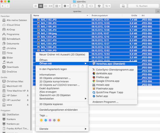 Bilder am Mac öffnen mit der Vorschau App