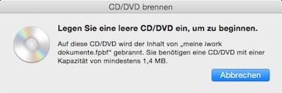 Leere CD einlegen und Brennvorgang am Mac starten