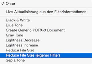 ColorSync Dienstprogramm Mac OS X für Dateireduzierung von PDF Dateien