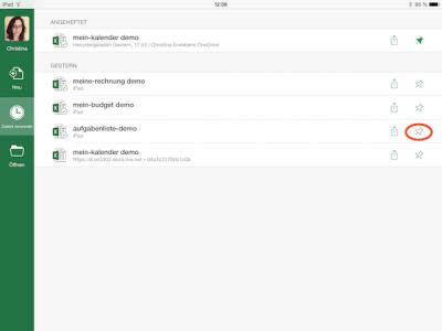Zuletzt verwendete Datei auf iPad öffnen
