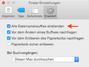 Suffixe am Mac immer anzeigen