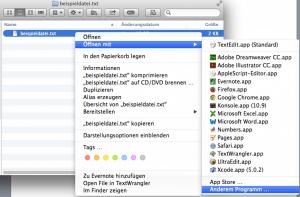 Wie man am Mac einen Datei Typ mit anderem Programm öffnet