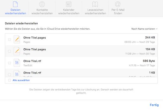 Daten aus iCloud wiederfinden und wiederherstellen