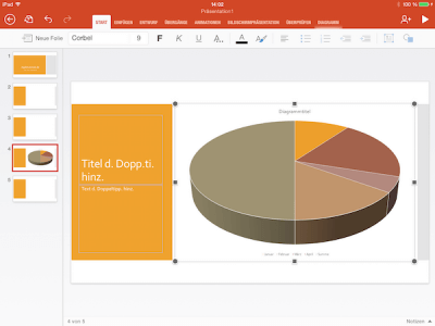 Excel Diagramm in Power Point App eingefügt