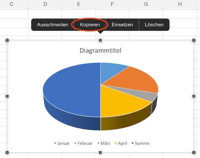 Excel Diagramm in Zwischenablage vom iPad kopieren