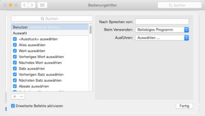 Diktierbefehle für den Mac