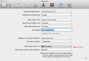 So kann man in Mac OS X den Download Ordner einstellen.