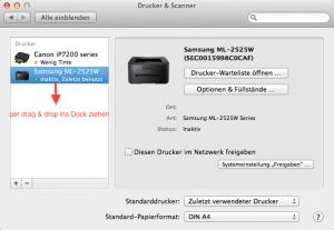Wenn man das Druckersymbol ins Dock zieht, kann man am Mac viel schneller Dokumente drucken