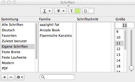 Schriften im Mac-Programm auswählen