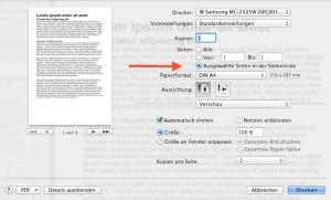 Über die PDF Vorschau einzelne Pages Seiten auswählen und dann drucken