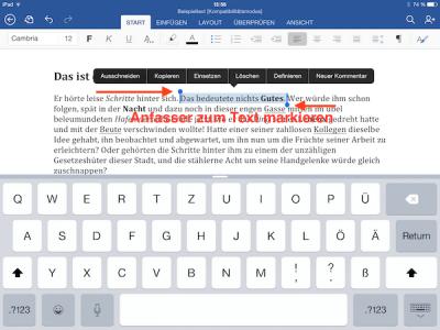 Einzelne Wörter oder Textpassagen in Office App für iPad markieren bzw. formatieren