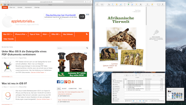 Fenster nebeneinander anordnen unter Mac OS X El Capitan