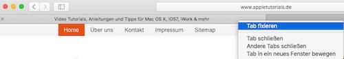Tabs pinnen bzw. fixieren in Safari 9 unter Mac OS X El Capitan