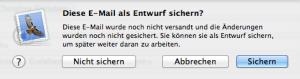 E-Mails in Apple Mail als Entwurf sichern