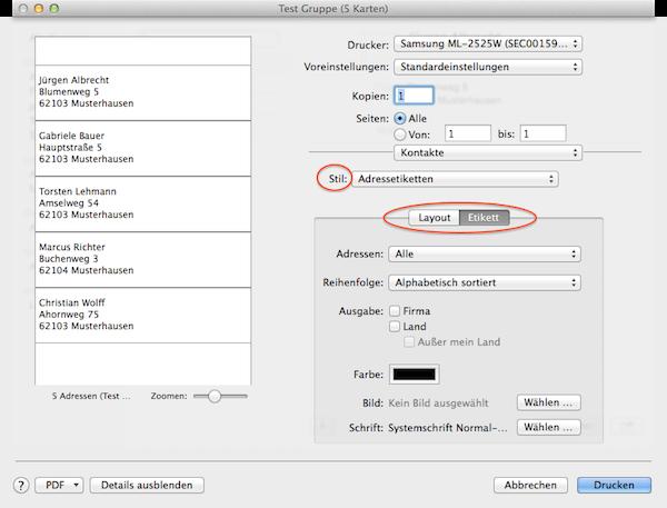 Etiketten mit Adressen am Mac ausdrucken