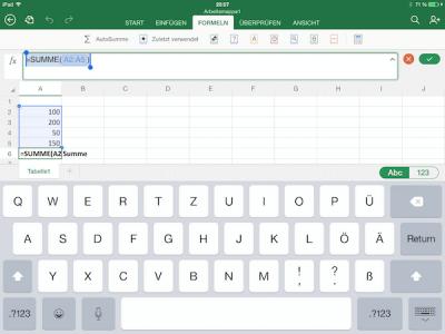 Formelassistent für Excel auf dem iPad
