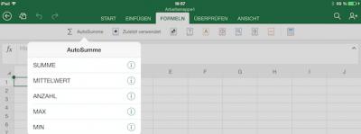 Menüzeile Formeln für Excel Office unter iOS