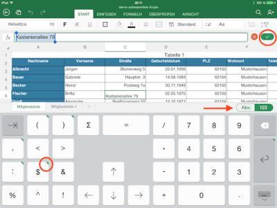 Das Tastaturlayout für Excel unter iOS