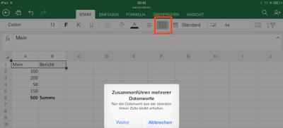 Zellen verbinden in Excel für iOS