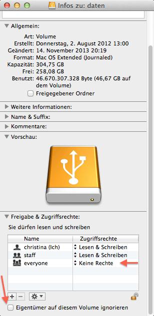 Wie man Gästen unter Mac OS X den Zugriff auf externe Laufwerke verweigert