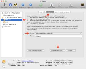 Mit dem Festplattendienstprogramm Festplatte am Mac formatieren
